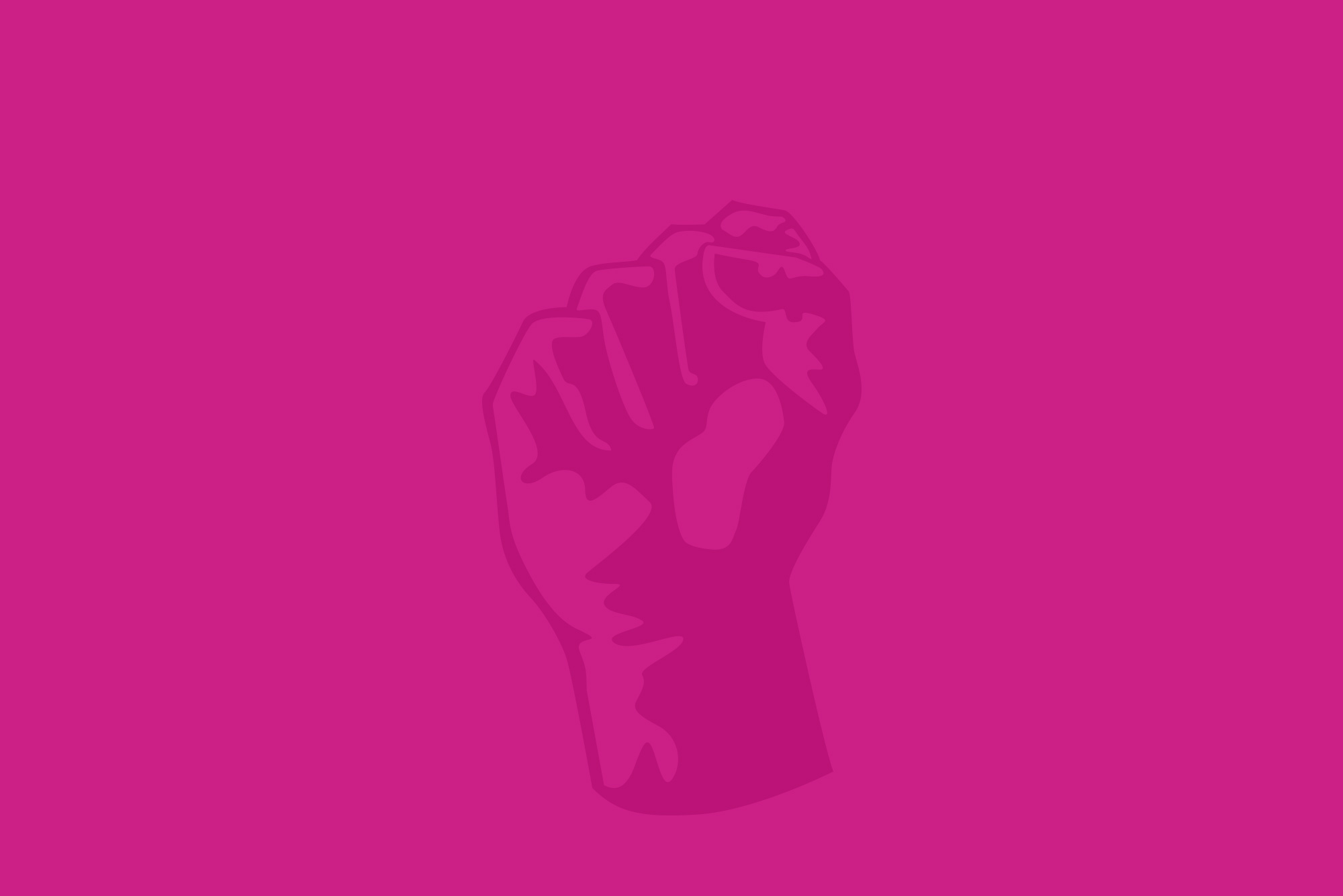 Clenched fist on a pink background - mobile revolution