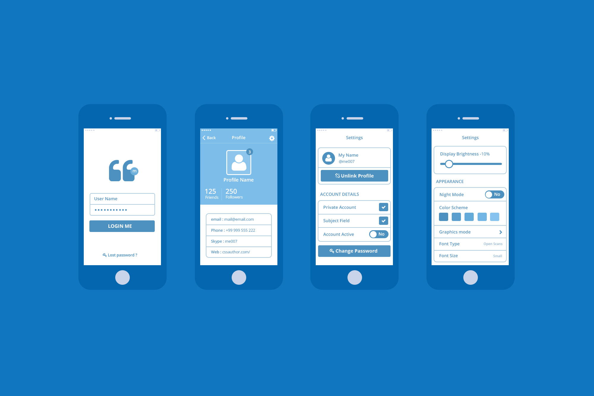 4 phones showing IA