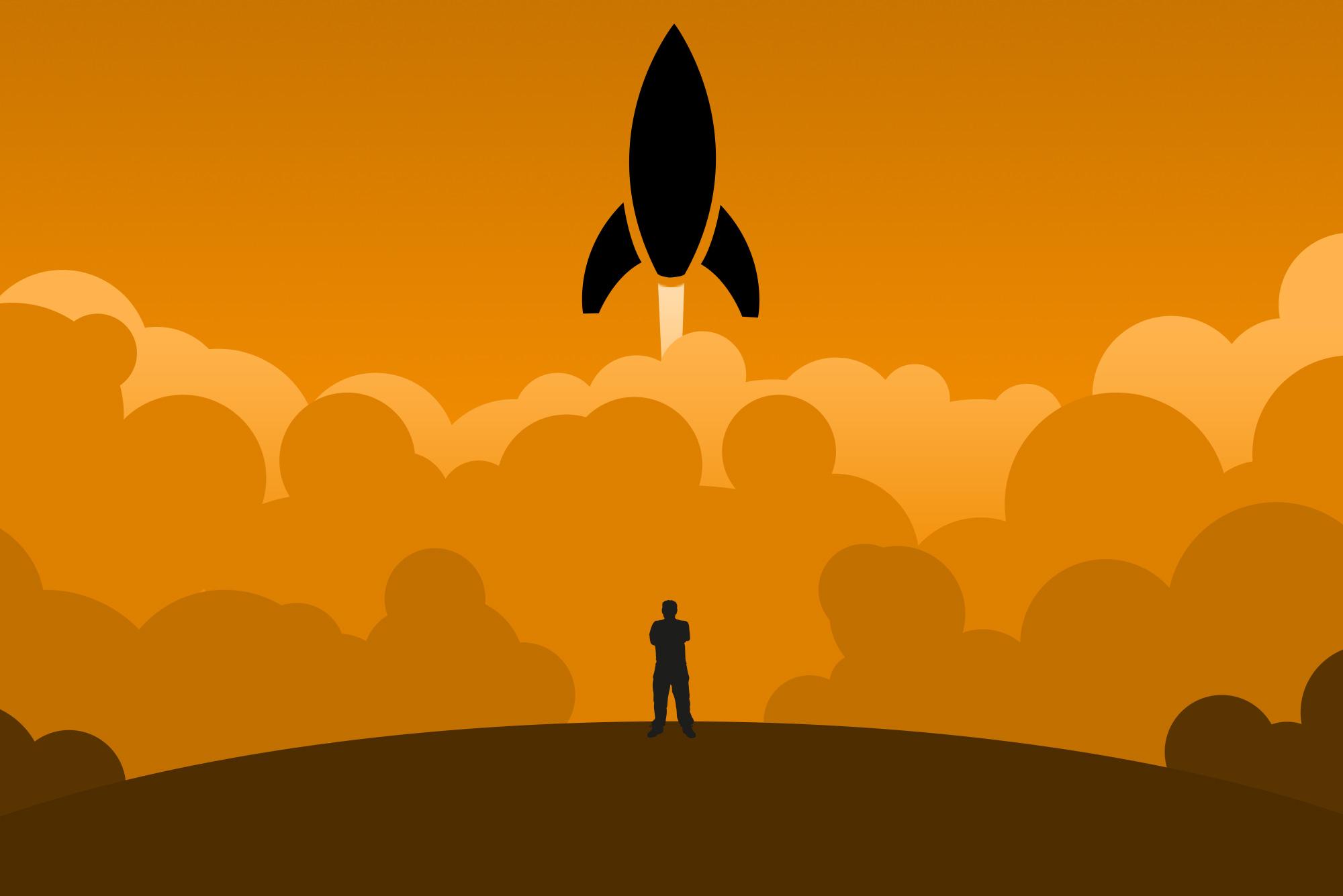 Spaceship on an orange background - Digital transformation