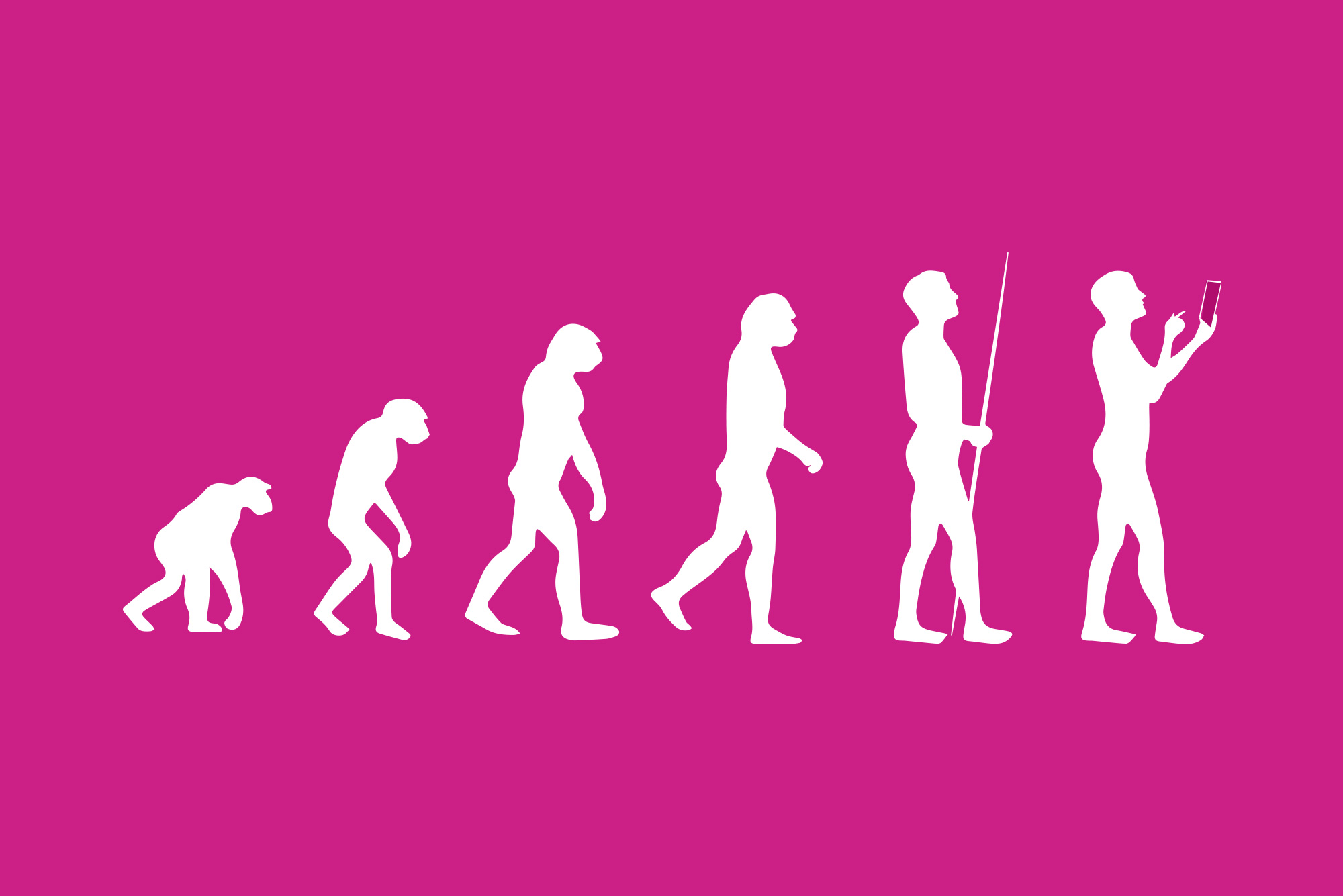 Evolution silhouettes on pink background - Customer relationship management