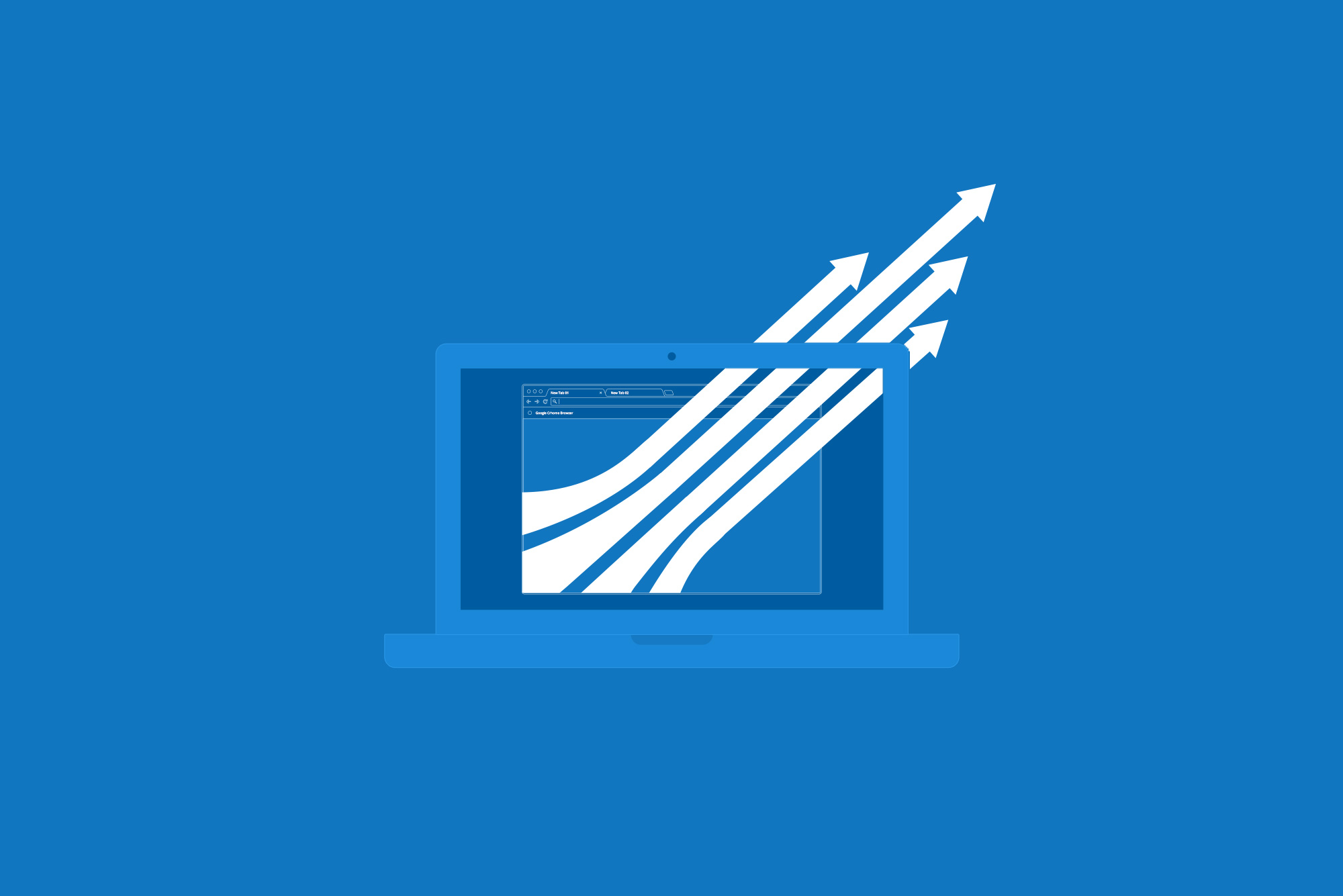 Laptop with white arrows on blue background - Increasing your brand profile