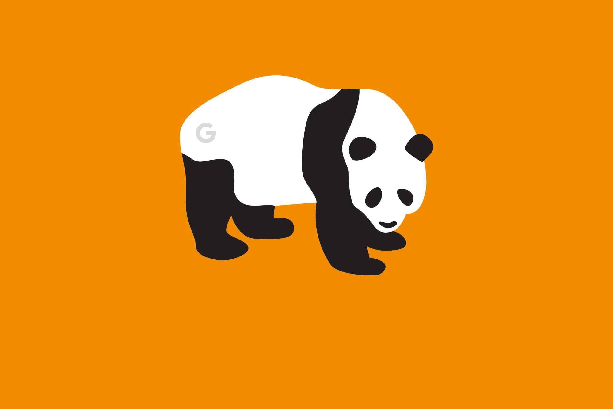 Google Panda on orange background - Google Algorithm Update