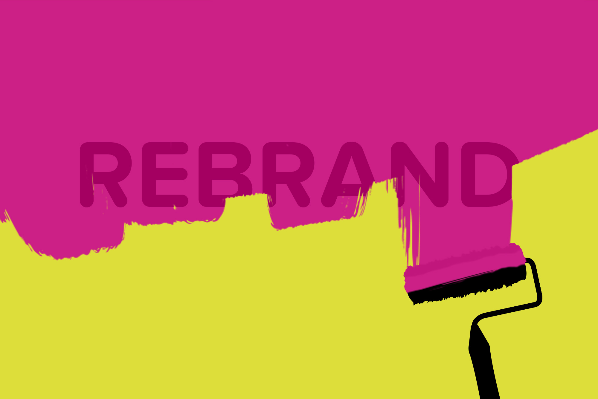 Roller paintbrush pink over yellow background - Why rebrand your business