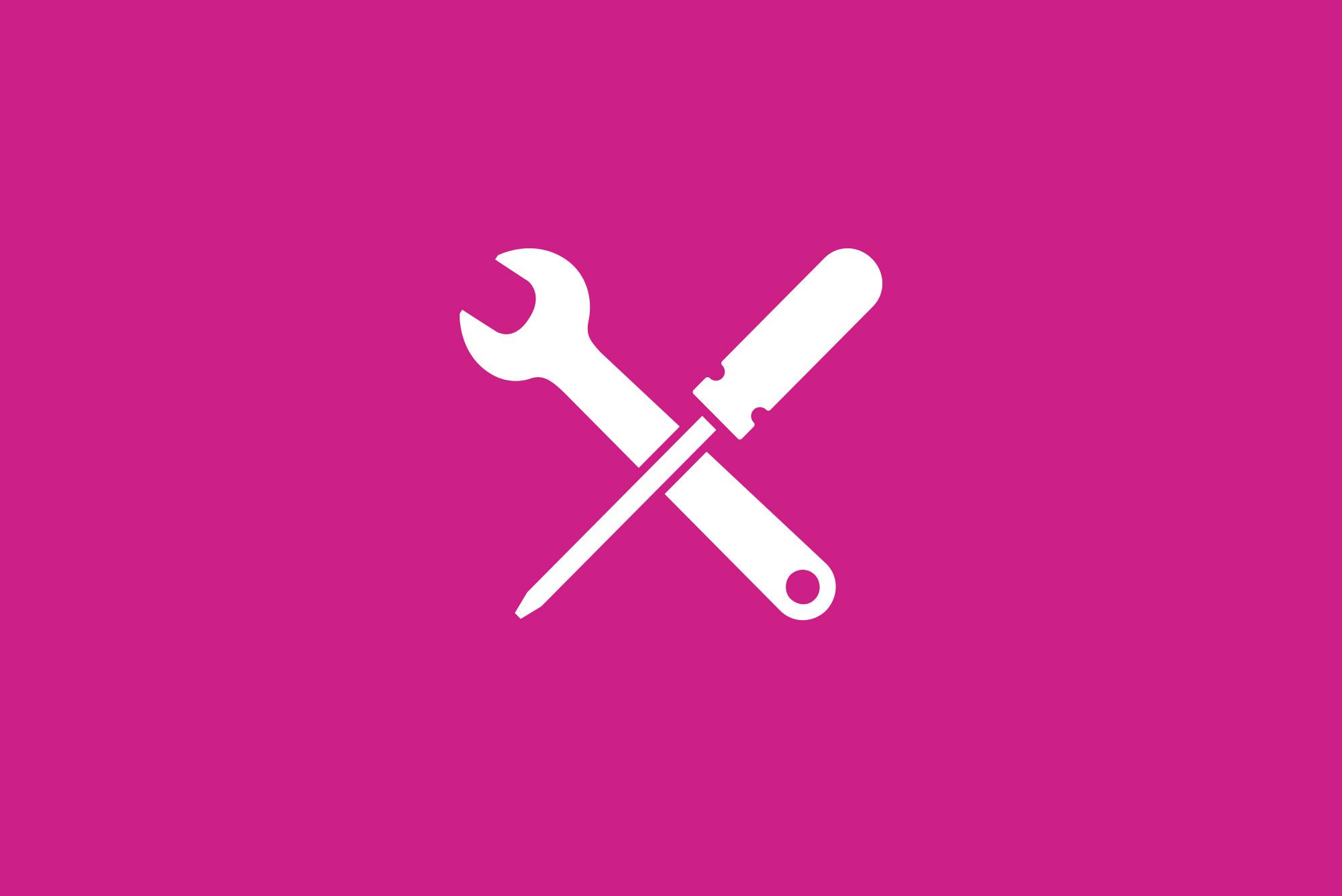 Tool icon on pink background - Website maintenance