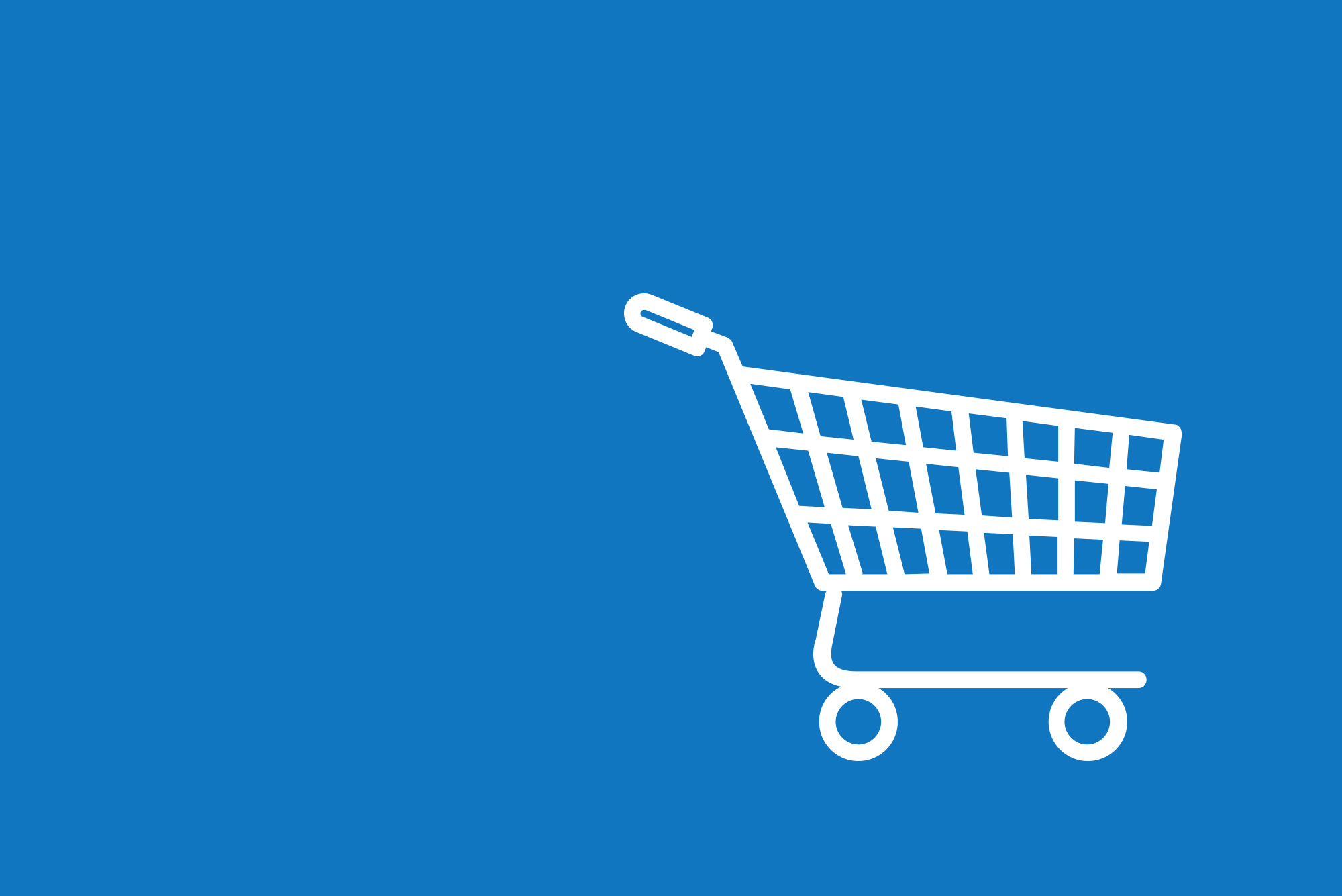 Shopping trolley icon on blue background