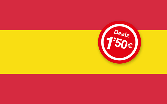 Dealz sticker on Spanish flag background