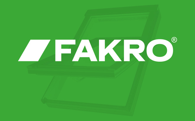 Fakro logo on a green background