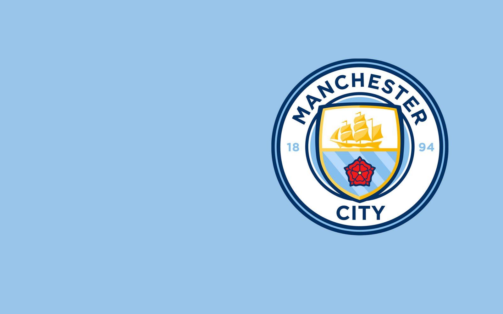Manchester City Football Club logo on blue background