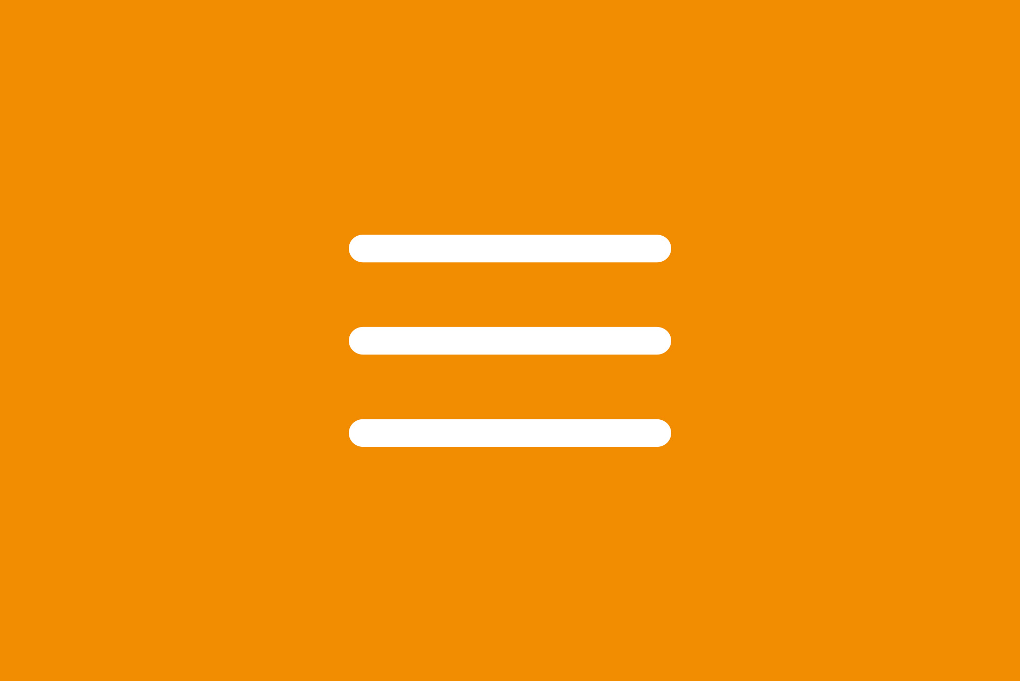 Hamburger icon on orange background