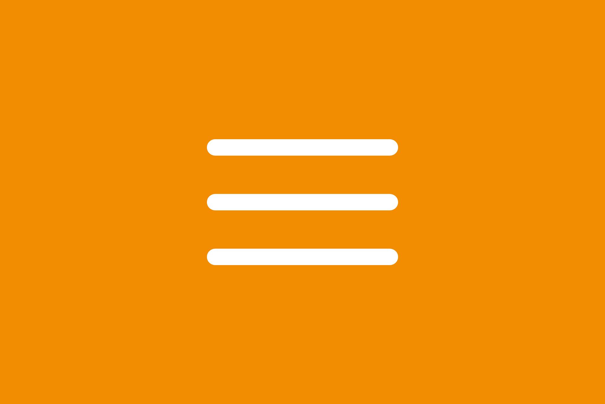Hamburger icon on orange background