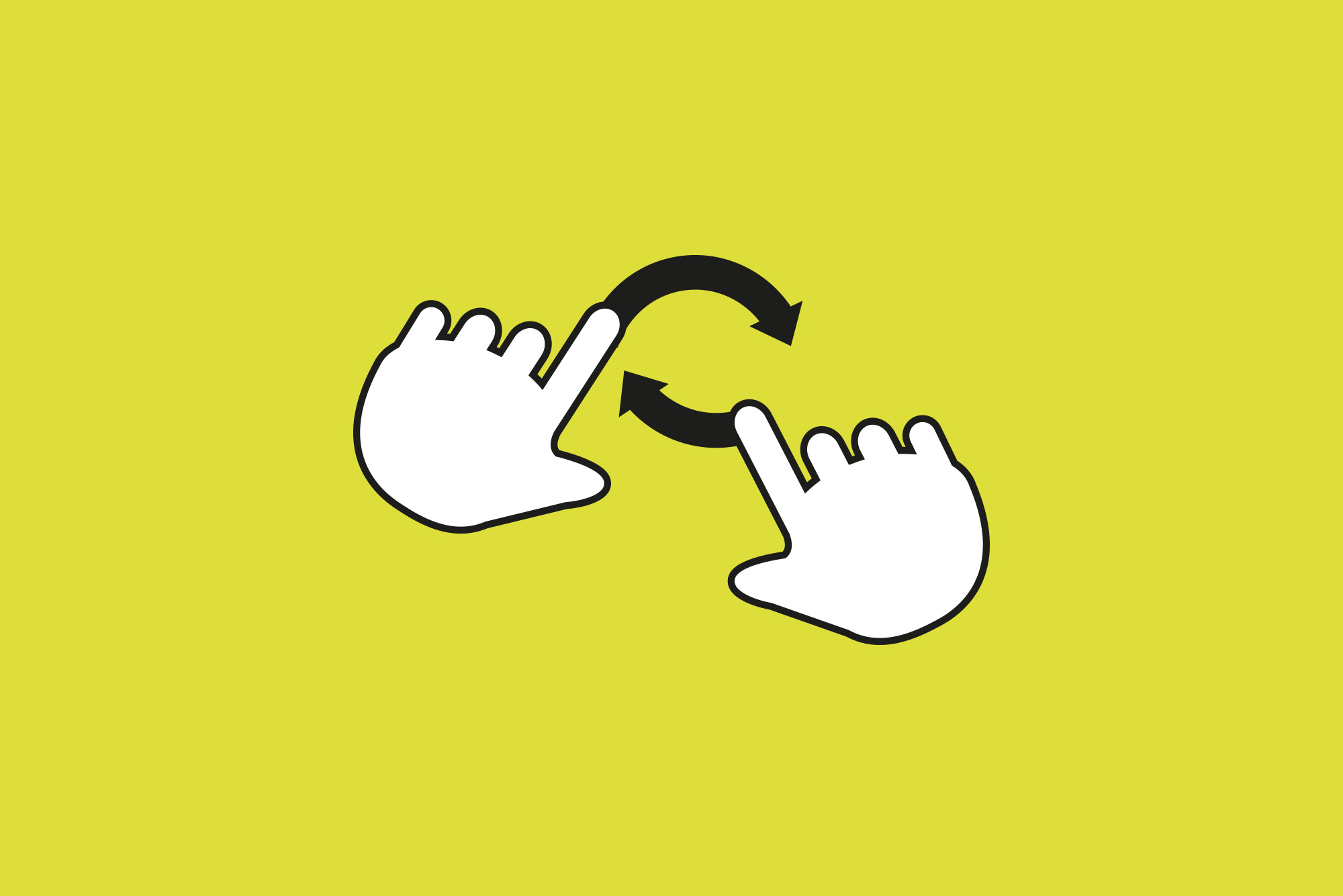 Hands making gestures on yellow background