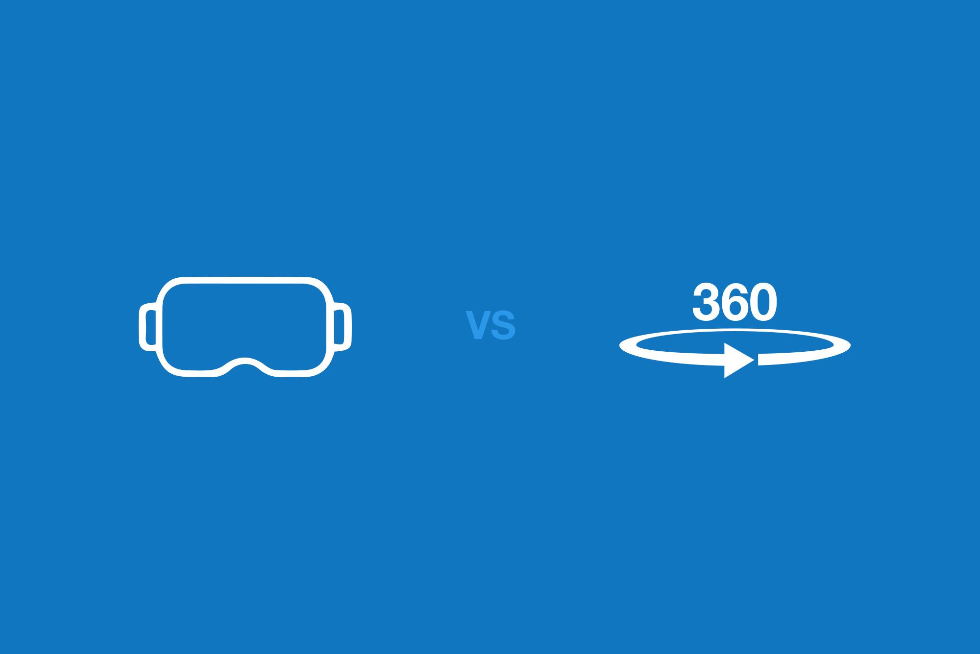 VR headset logo in white vs 360 video logo in white on blue background
