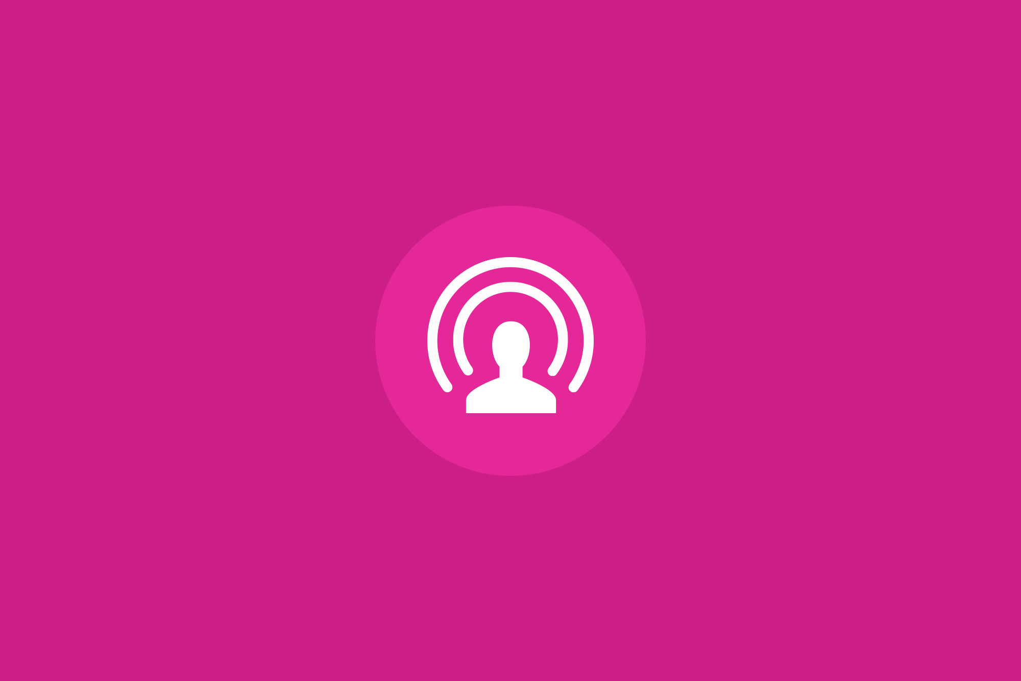 Live video icon in white with a pink background