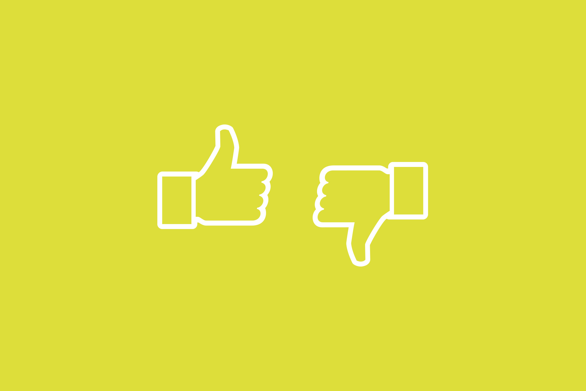 Do's and Don't of social media - a white thumbs up and thumbs down on a yellow background