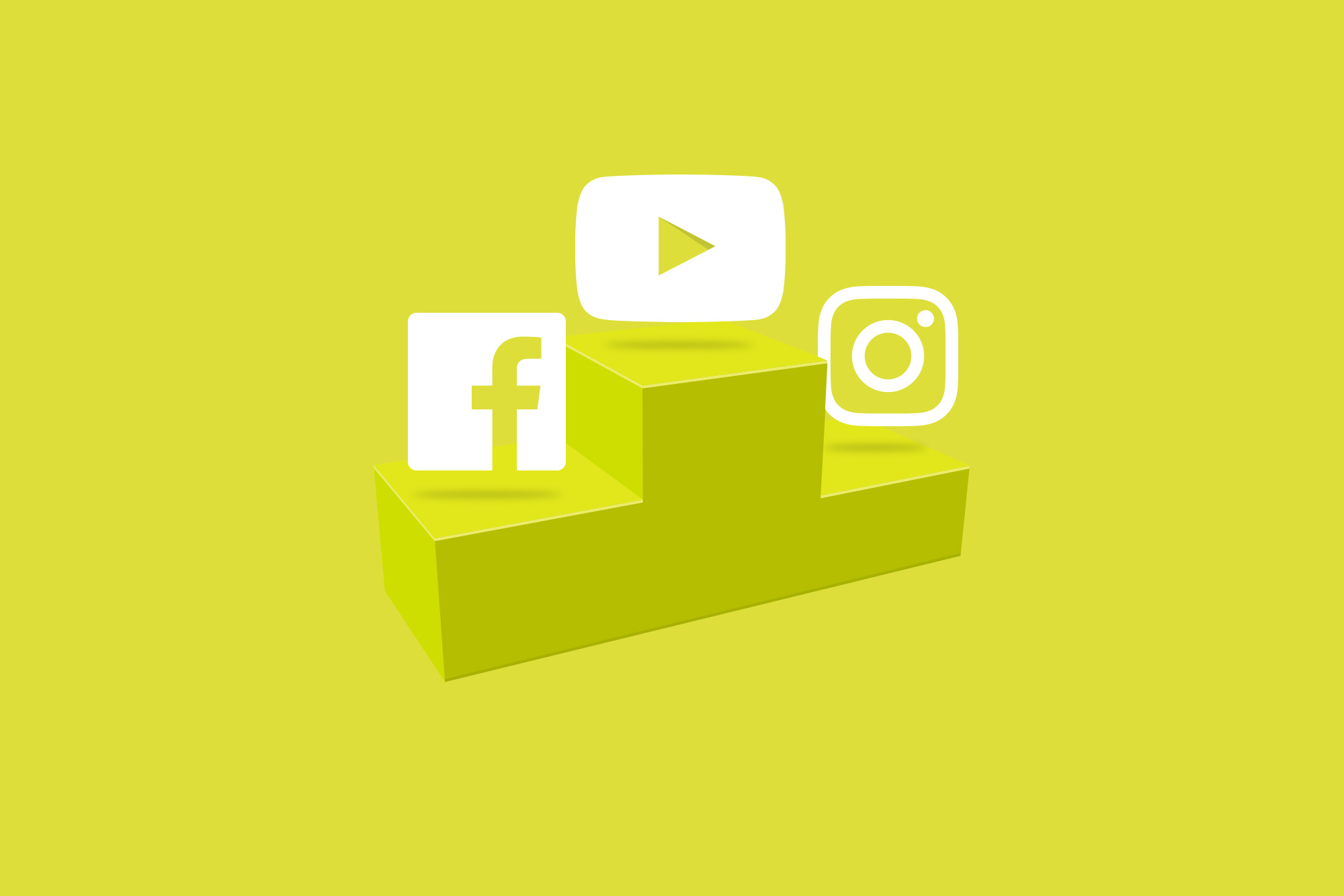 Facebook, YouTube and Instagram logos on a yellow podium