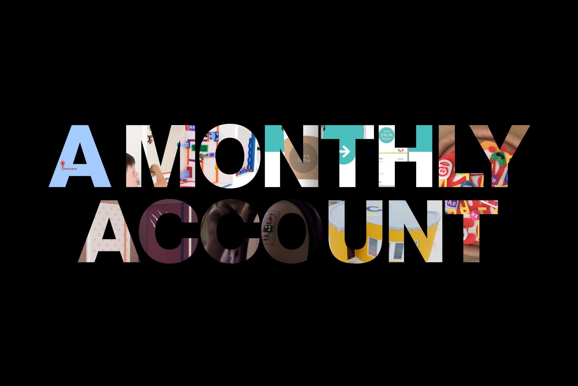 A Monthly Account image with various images inside the lettering