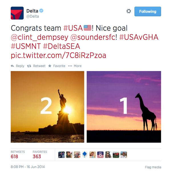 Delta Airlines Twitter blooper
