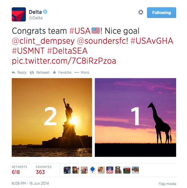 Delta Airlines Twitter blooper