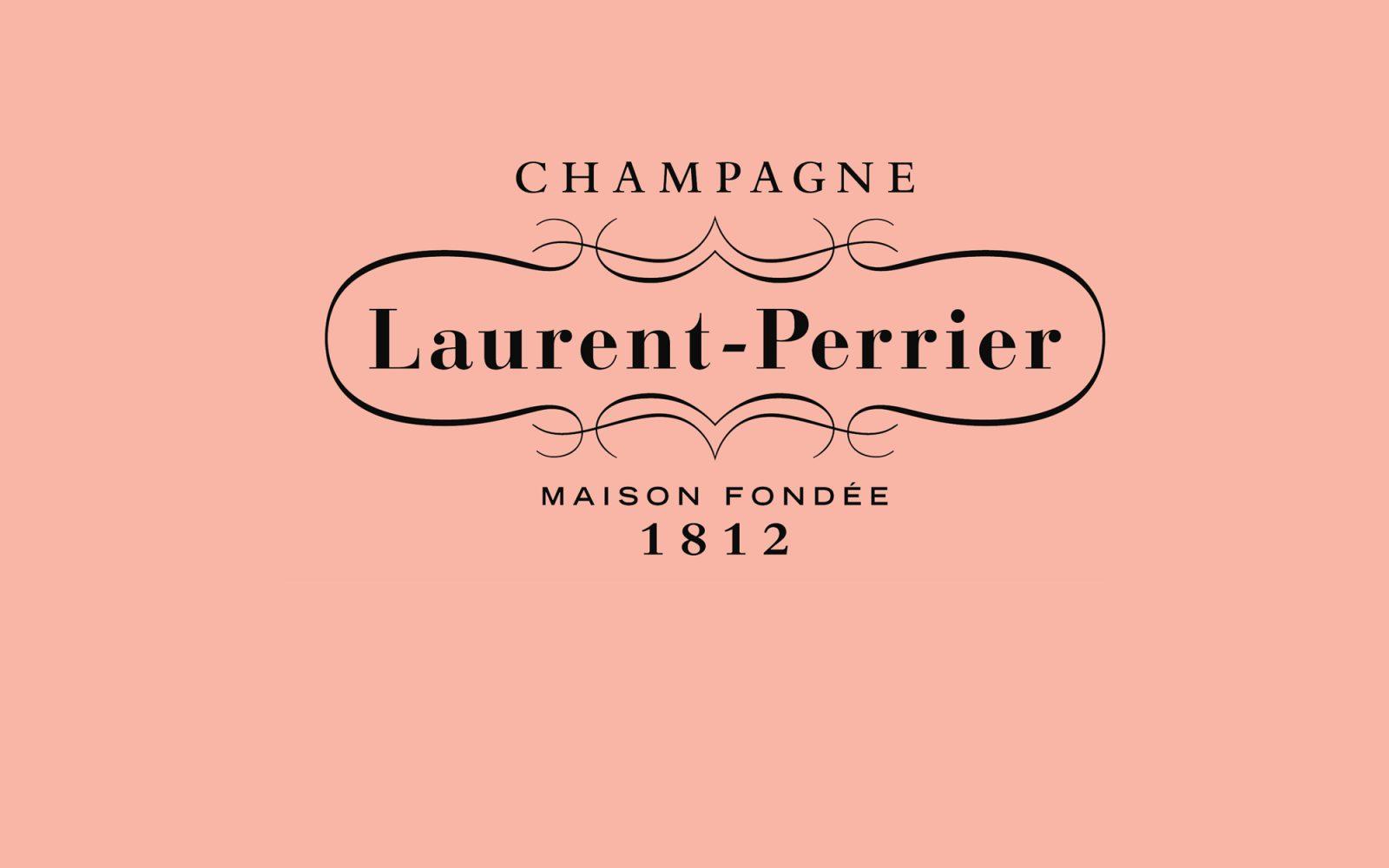 Laurent Perrier logo on pink background