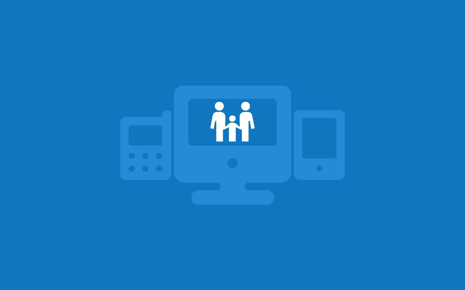 Online safety. Mobile, computer and tablet icons with family icon in the middle on blue background.